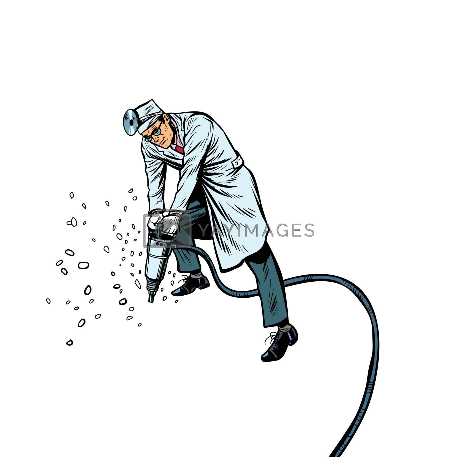Dentist drills teeth. Pop art retro vector illustration kitsch vintage