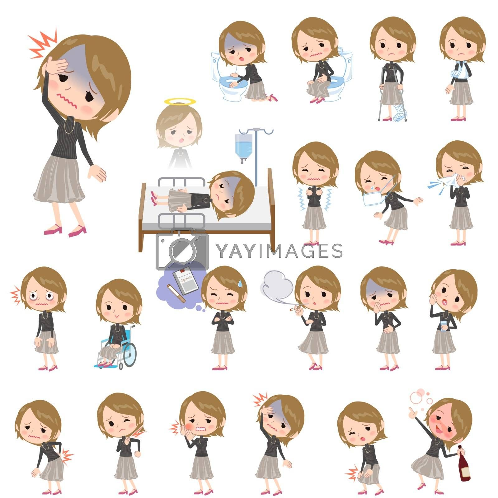 Set of various poses of Short hair black high necked women About the sickness