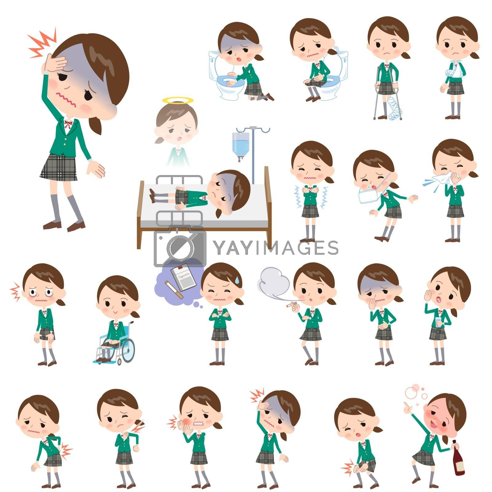 Set of various poses of school girl Green Blazer About the sickness