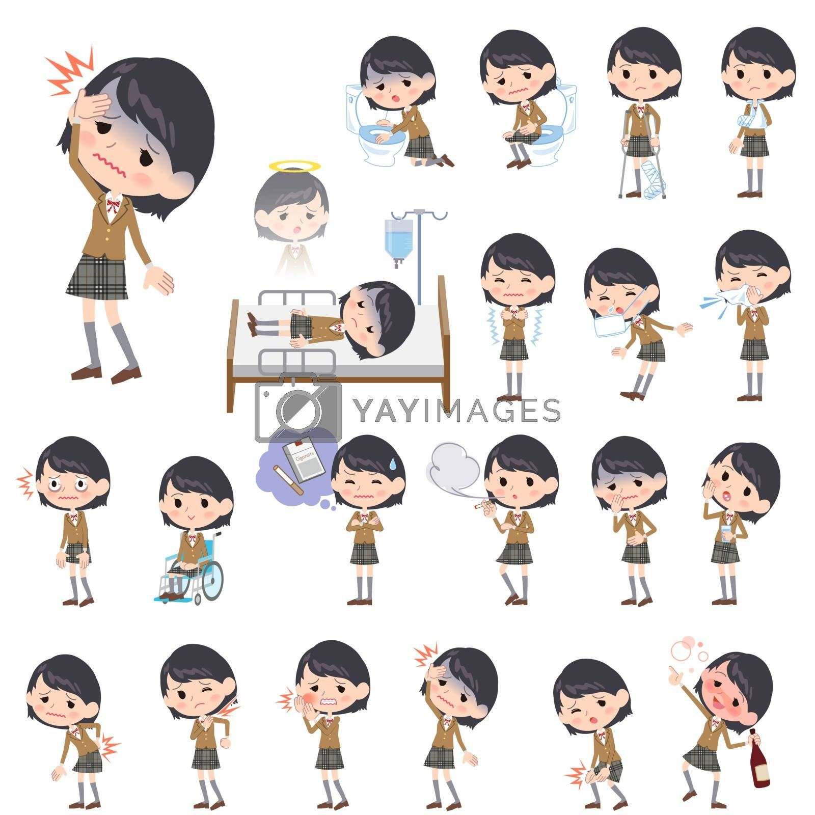 Set of various poses of school girl Brown Blazer About the sickness