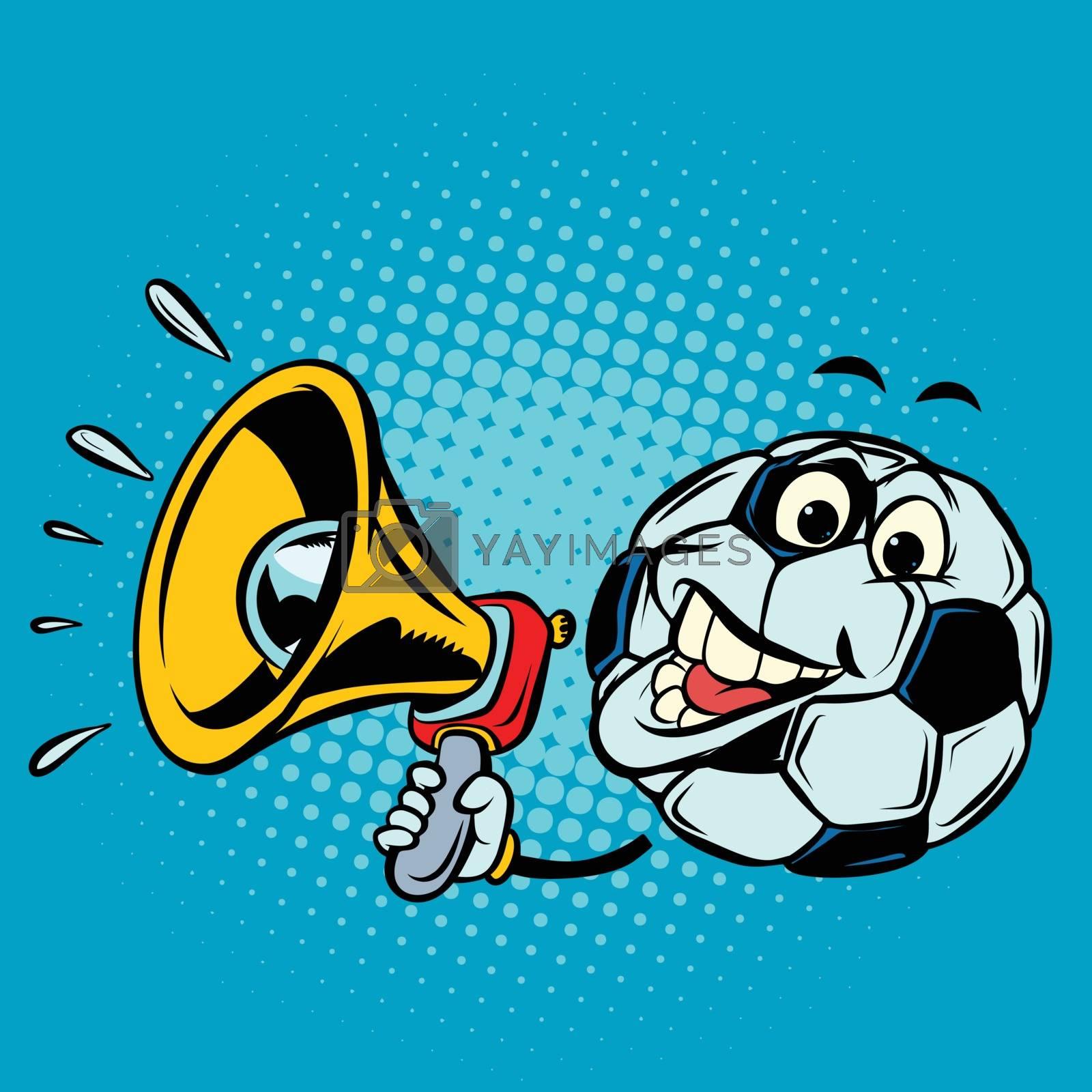 Fan with megaphone. Football soccer ball. Funny character emoticon sticker. Sport world championship competition. Comic cartoon pop art retro vector illustration