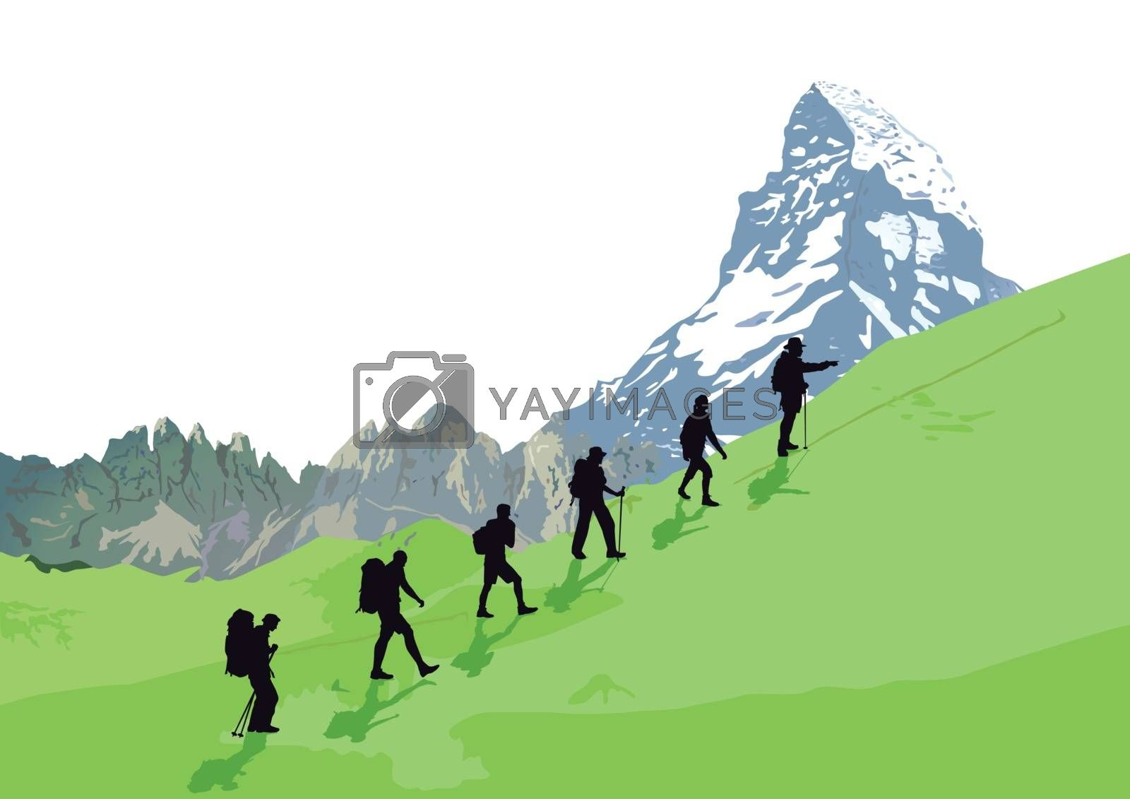 Climber in front of mountain scenery, illustration