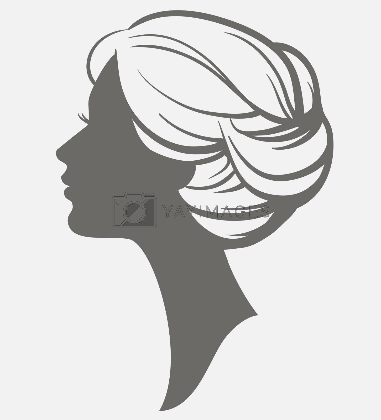 Woman face silhouette. Female head with stylish hairstyle