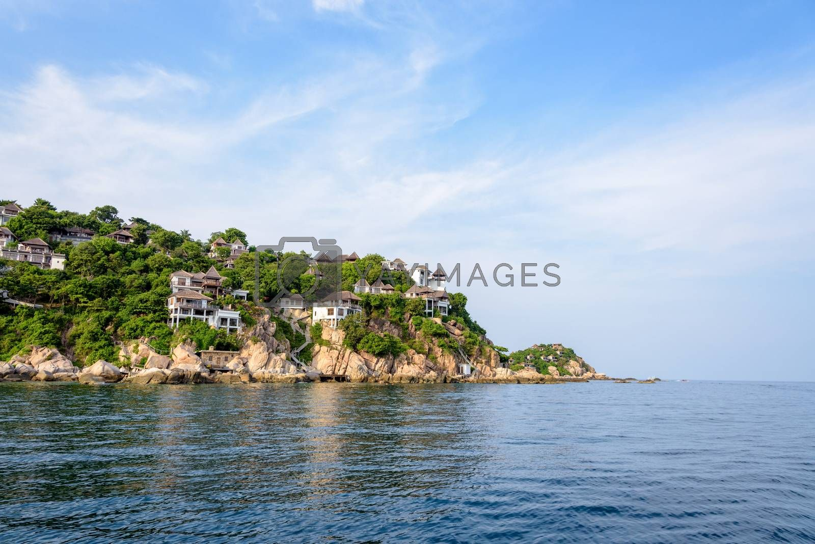 Beautiful nature landscape of villa on Shark Cape, Shark Bay area under the blue sky on the sea during summer at Ko Tao island is a famous tourist attractions in the Gulf of Thailand, Surat Thani