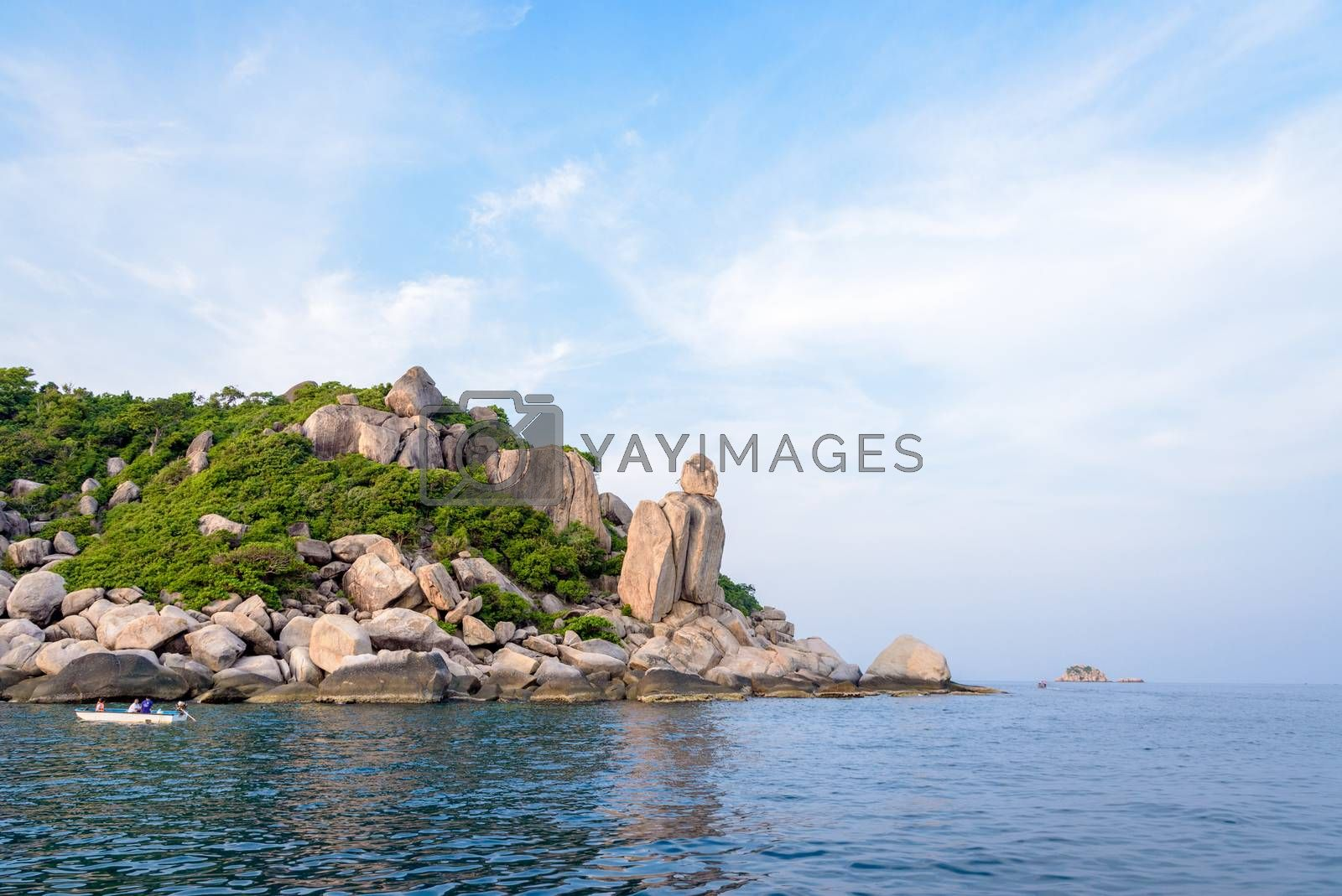 Beautiful nature landscape group exotic rock of Buddha Point at cape near John-Suwan viewpoint under the blue sky on the sea during summer, Ko Tao island is a attractions in Surat Thani, Thailand
