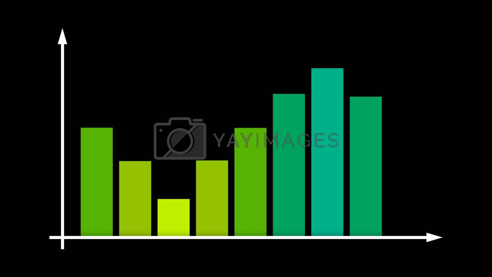 A stunning 3d illustration of a business bar graph with green and yellow lines moving up and down in a system of axes with spiky arrows and showing income in the black backdrop.