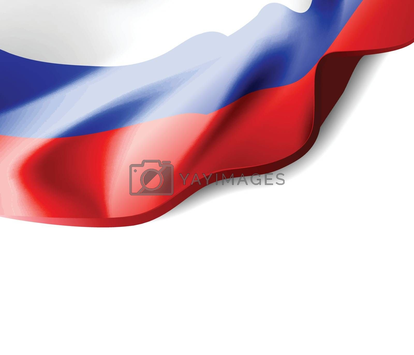Waving flag of Russia close-up with shadow on white background. Vector illustration with copy space for your design