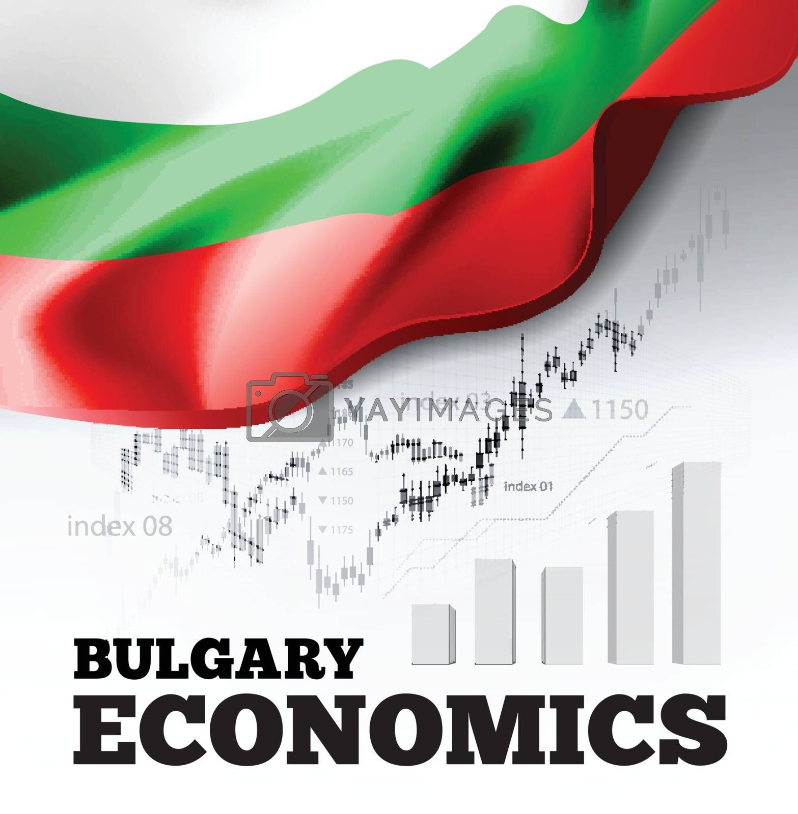 Bulgary economics vector illustration with bulgarian flag and business chart, bar chart stock numbers bull market, uptrend line graph symbolizes the welfare growth