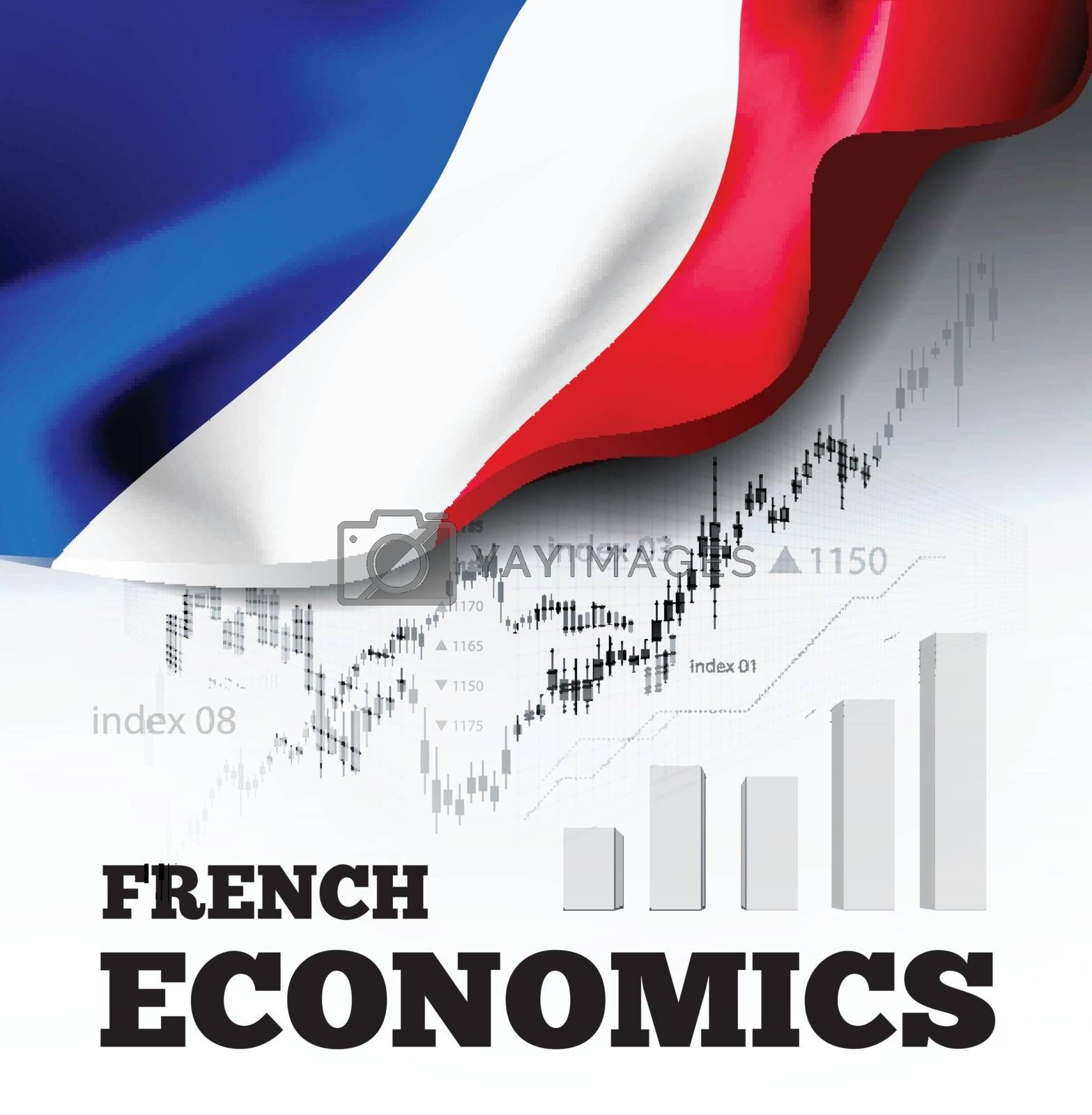 French economics vector illustration with france flag and business chart, bar chart stock numbers bull market, uptrend line graph symbolizes the welfare growth