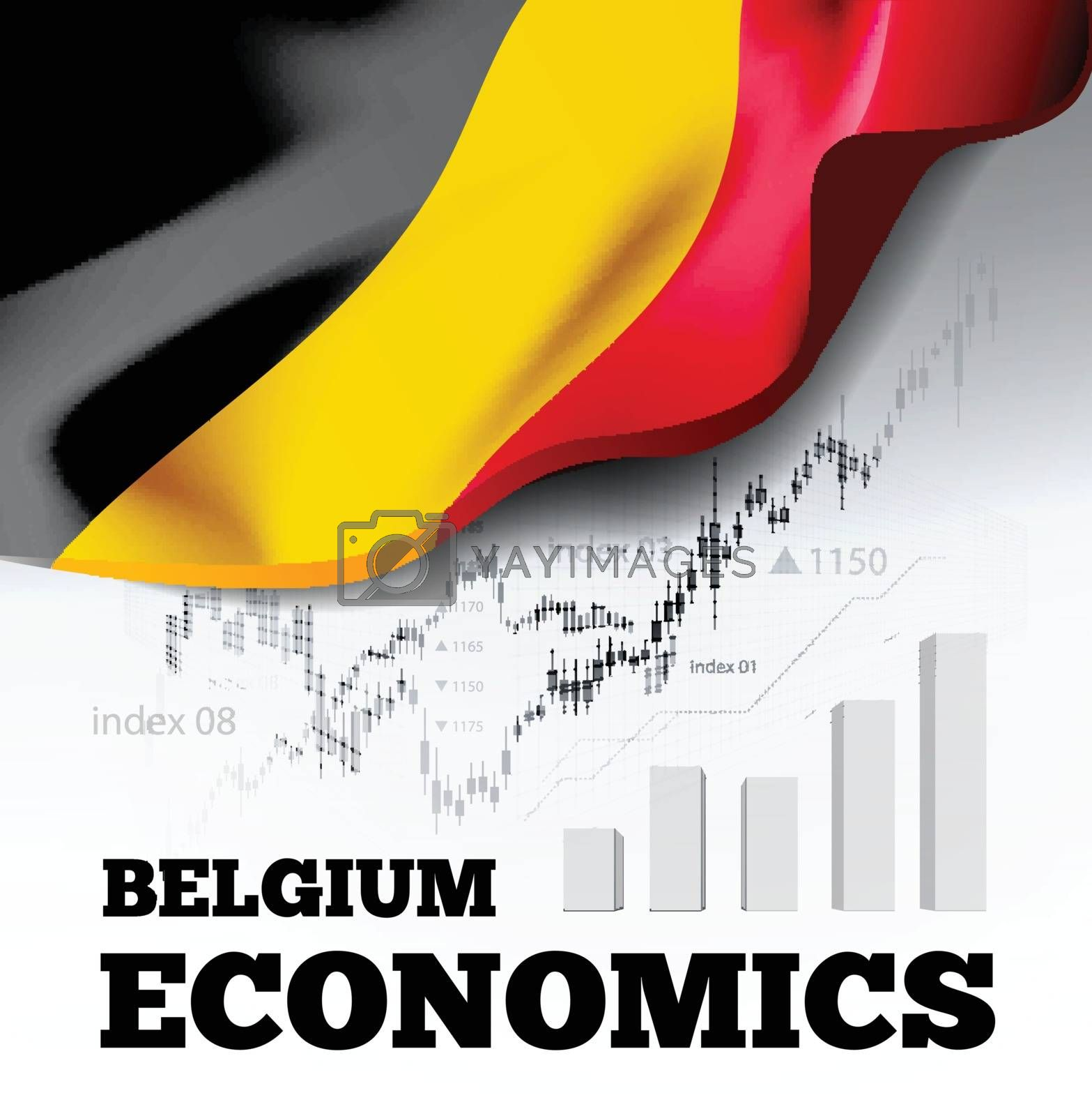 Belgium economics vector illustration with the flag of Belgium and business chart, bar chart stock numbers bull market, uptrend line graph symbolizes the welfare growth