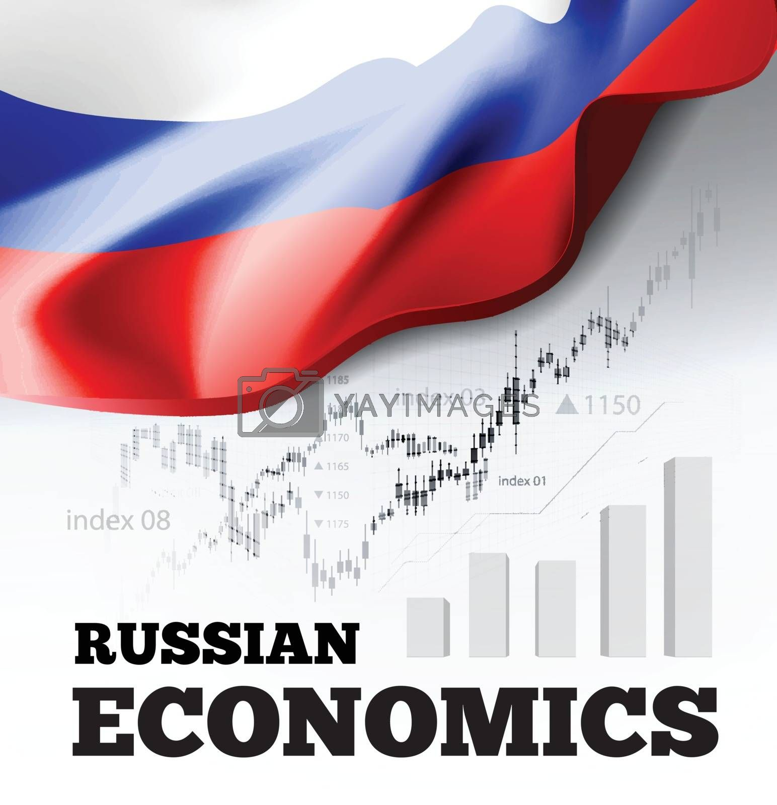 Russian economics vector illustration with Russia flag and business chart, bar chart stock numbers bull market, uptrend line graph symbolizes the welfare growth