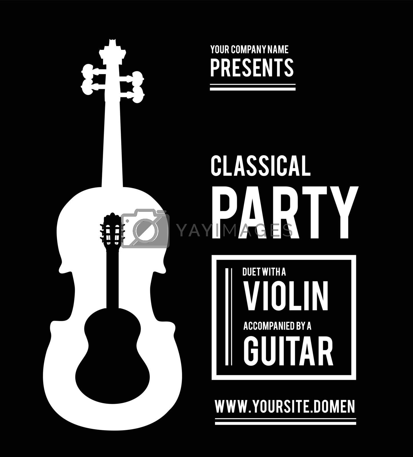 Classical music party. Duet violin and guitar. Vector illustration
