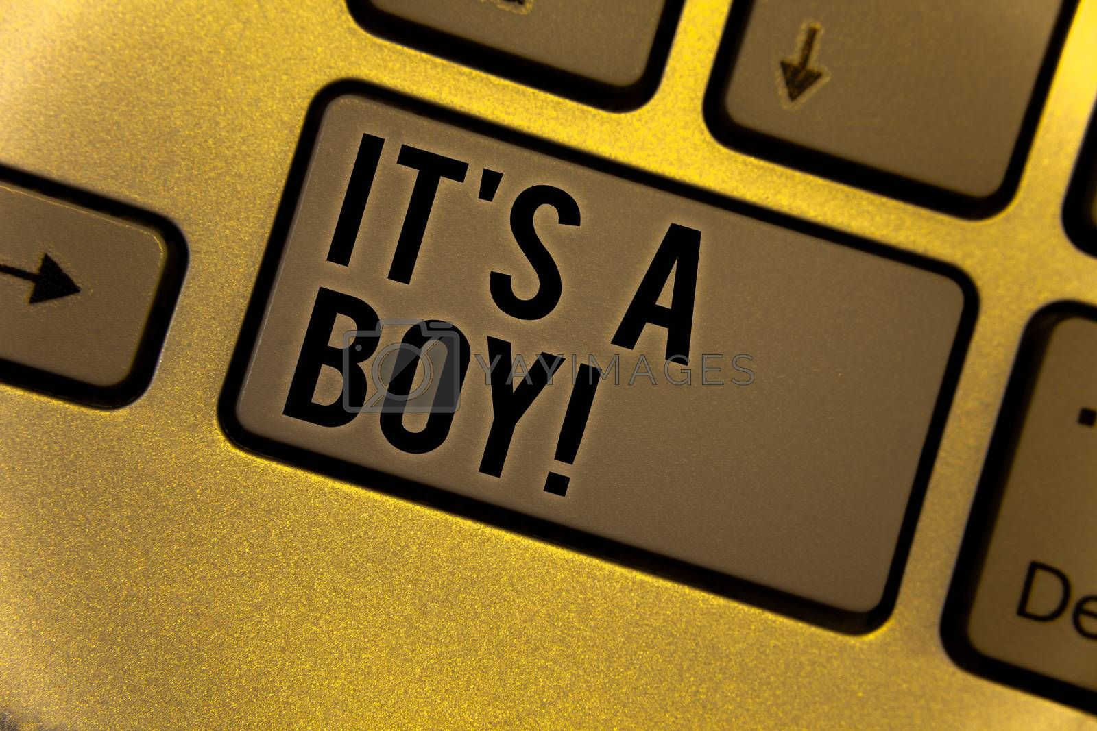 Conceptual hand writing showing It S A Boy Motivational Call. Business photo showcasing Male baby is coming Gender reveal CelebrationYellow Keyboard brown key Intention create texts on computer