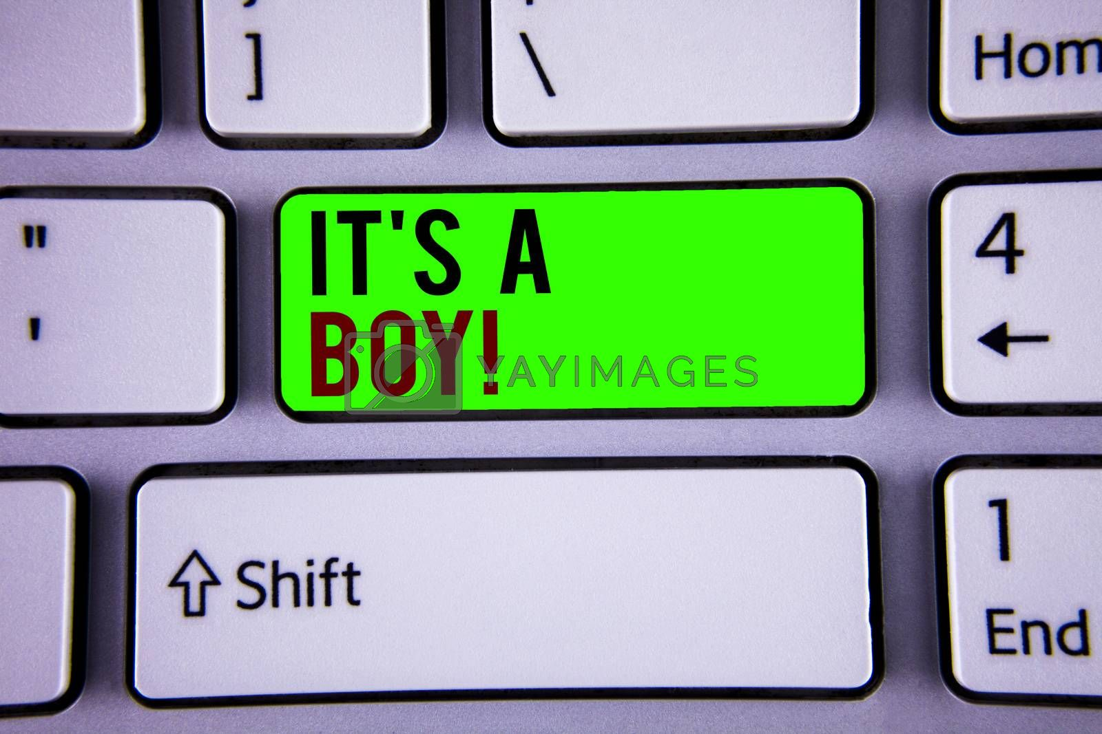 Words writing texts It S A Boy Motivational Call. Business concept for Male baby is coming Gender reveal Celebration