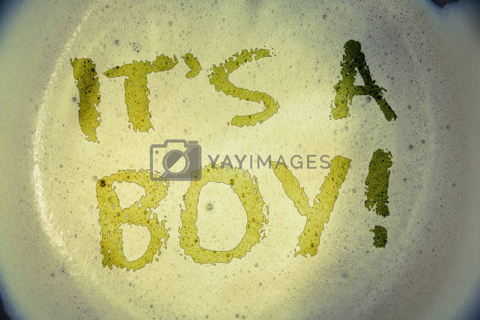 Writing note showing  It S A Boy Motivational Call. Business photo showcasing Male baby is coming Gender reveal CelebrationIdeas messages concepts words letters created foamy coffee background