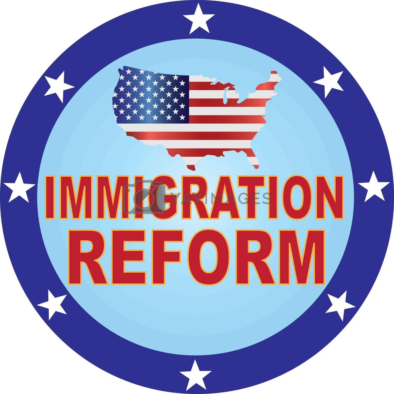 Immigration Reform with USA Flag in Map Silhouette Button Illustration