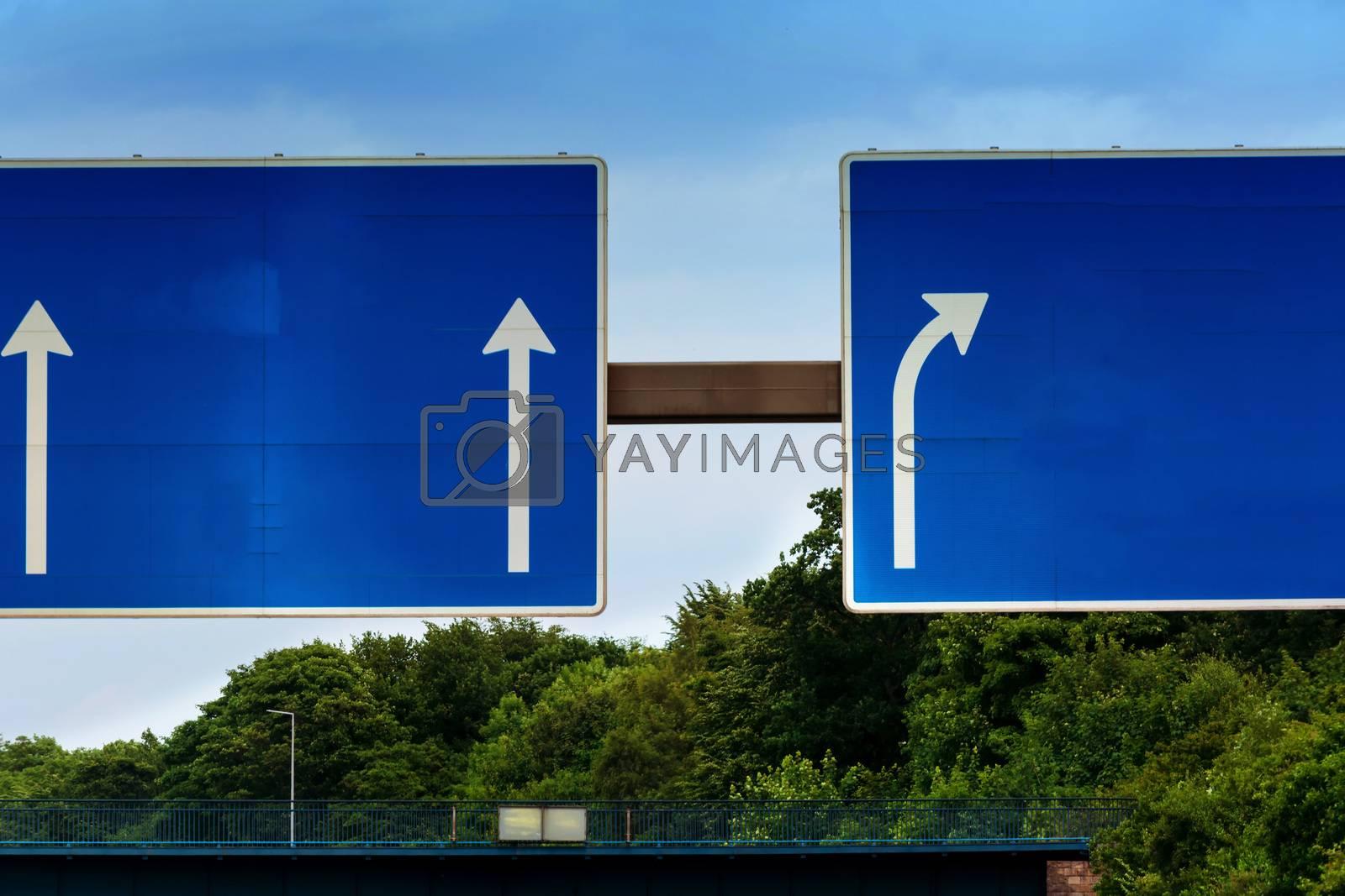 Highway sign, directional sign on the motorway A 3, direction Venlo, Duisburg, Essen, Muelheim an der Ruhr, Oberhausen, Arnhem and Highway crossing Kaiserberg.