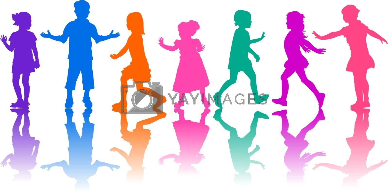 Colored silhouettes of children on a white background. Young children in motion. Children are active.