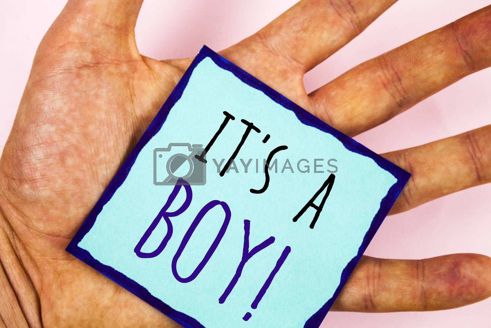 Text sign showing It S A Boy Motivational Call. Conceptual photo Male baby is coming Gender reveal Celebration