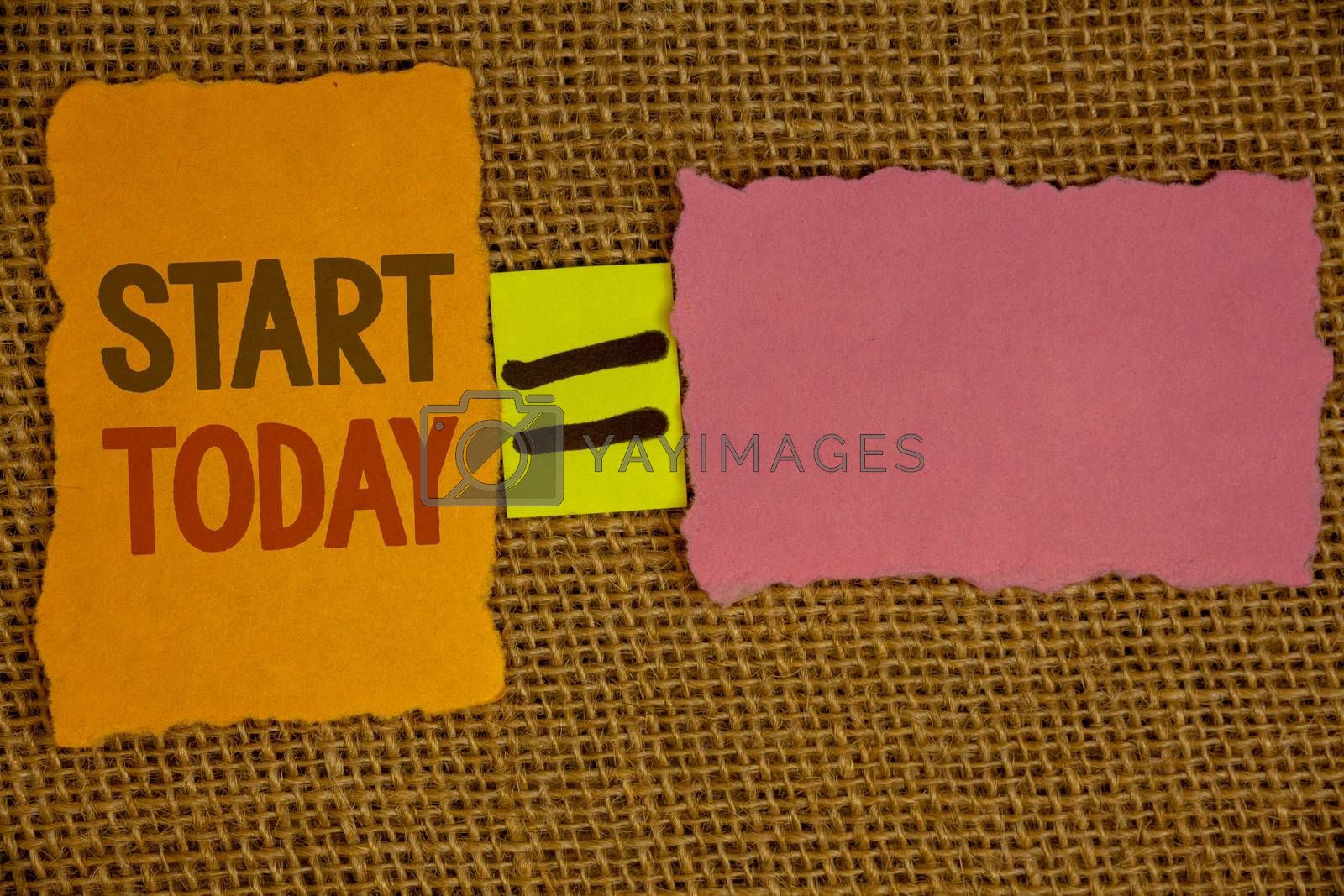 Words writing texts Start Today. Business concept for Initiate Begin right now Inspirational Motivational phraseIdeas created on orange yellow pink papers equal sign wicker background