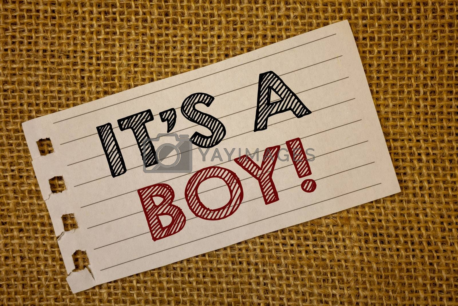 Text sign showing It S A Boy Motivational Call. Conceptual photo Male baby is coming Gender reveal CelebrationNotebook page ideas message black red letters words wicker background