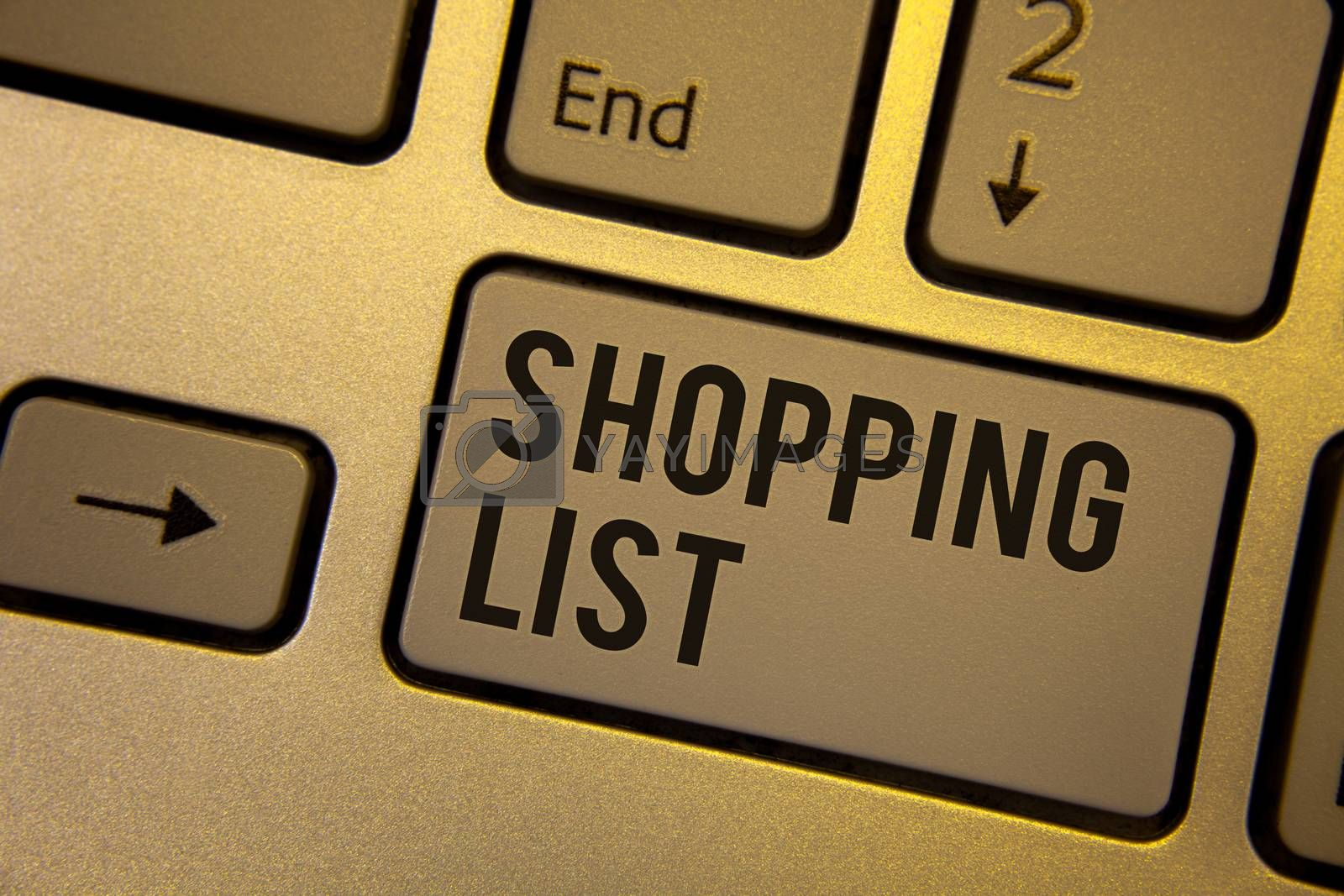 Writing note showing  Shopping List. Business photo showcasing Products Groceries you need to buy Supermarket Checklist