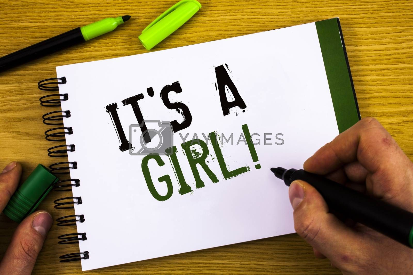 Writing note showing  It Is A Girl Motivational Call. Business photo showcasing Female baby coming Gender reveal Celebration