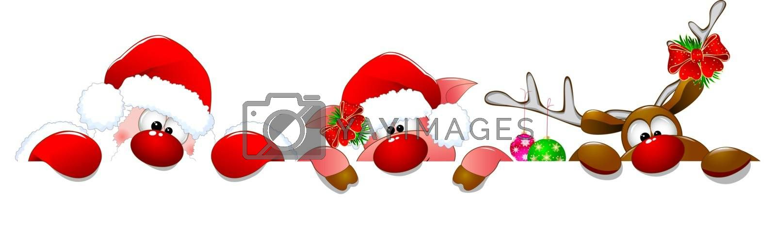 Santa Claus, deer and piglet on a white background.
