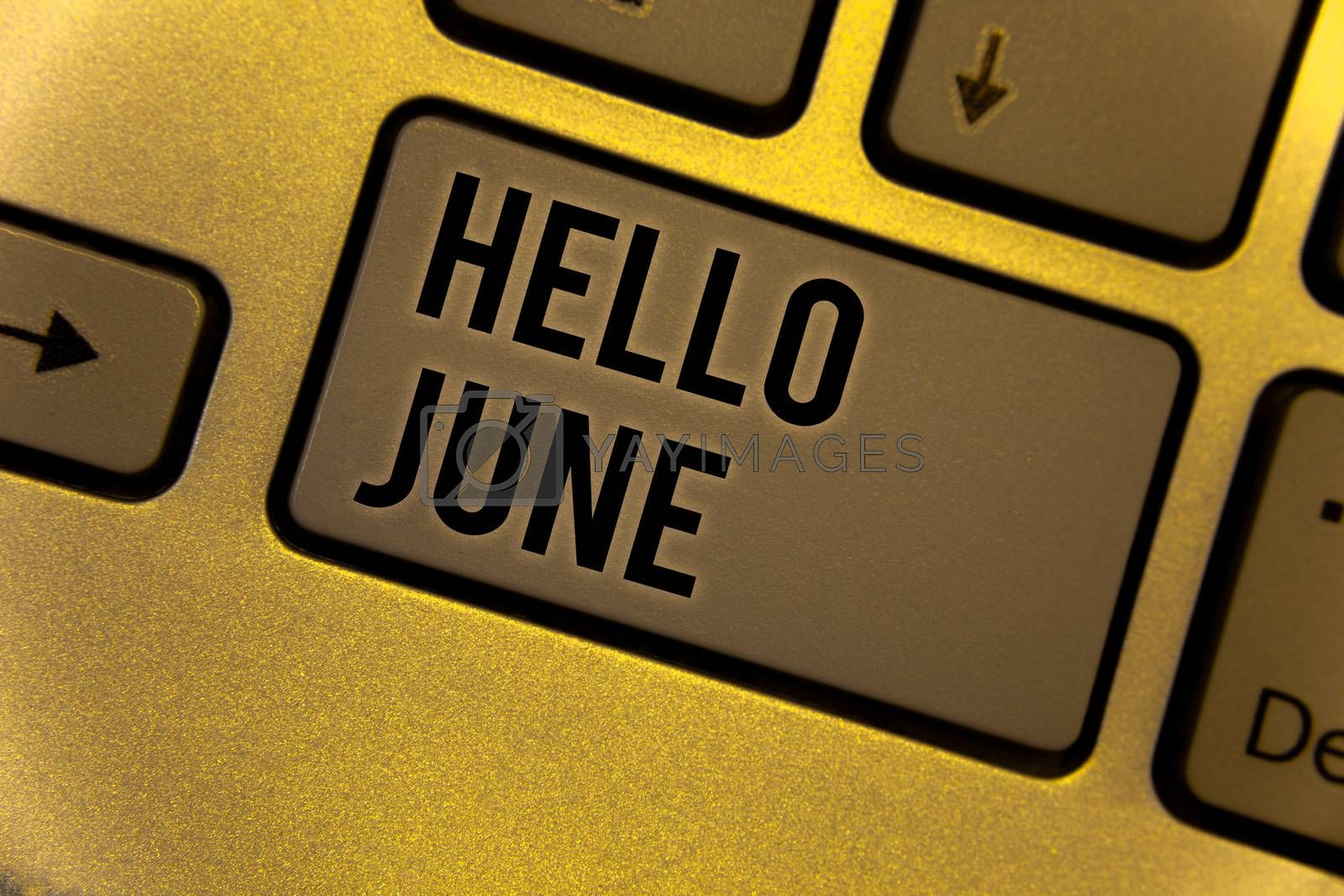 Conceptual hand writing showing Hello June. Business photo showcasing Starting a new month message May is over Summer startingYellow Keyboard brown key Intention create texts on computer
