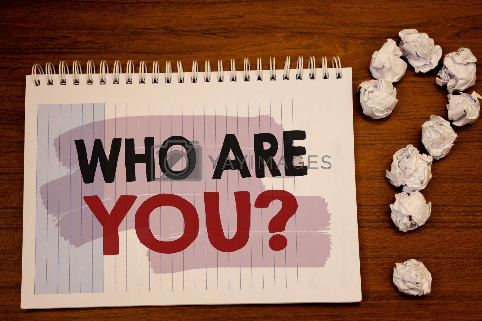 Writing note showing  Who Are You Question. Business photo showcasing Introduce or Identify Yourself Tell your Personal Story