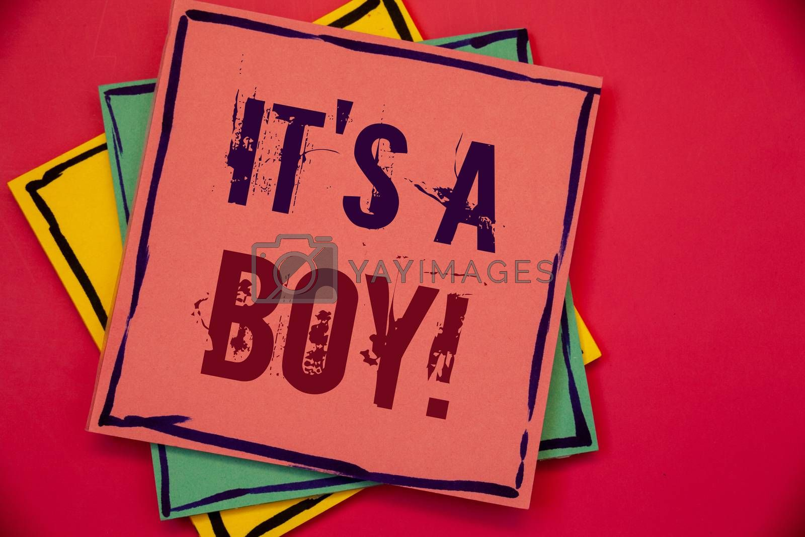 Words writing texts It S A Boy Motivational Call. Business concept for Male baby is coming Gender reveal CelebrationPink blue yellow papers ideas words concepts black letters red background