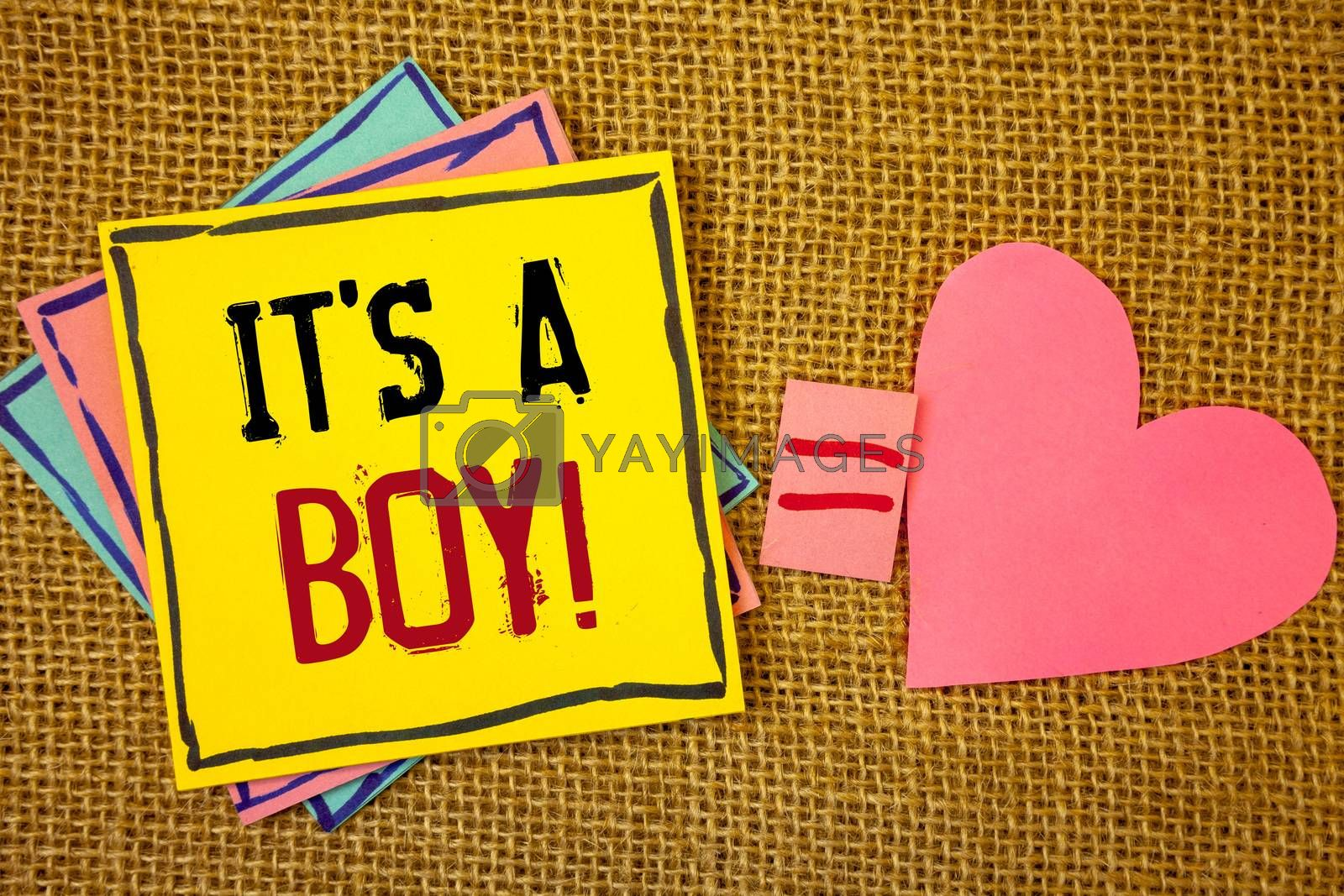 Conceptual hand writing showing It S A Boy Motivational Call. Business photo texts Male baby is coming Gender reveal CelebrationIdeas created on note papers equal sign heart wicker background
