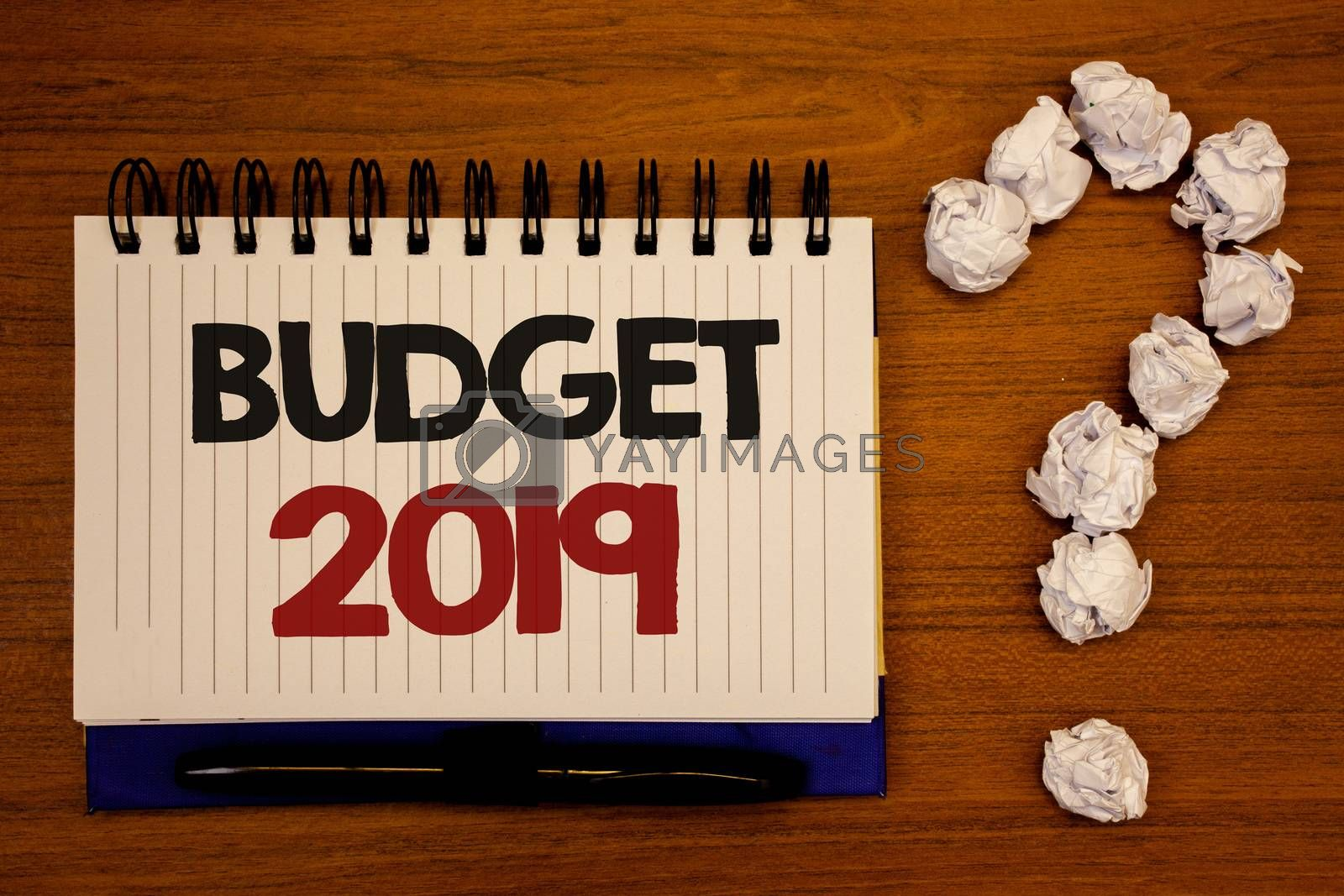 Text sign showing Budget 2019. Conceptual photo New year estimate of incomes and expenses Financial PlanIdeas on notebook wooden background quotation mark made of crumpled papers