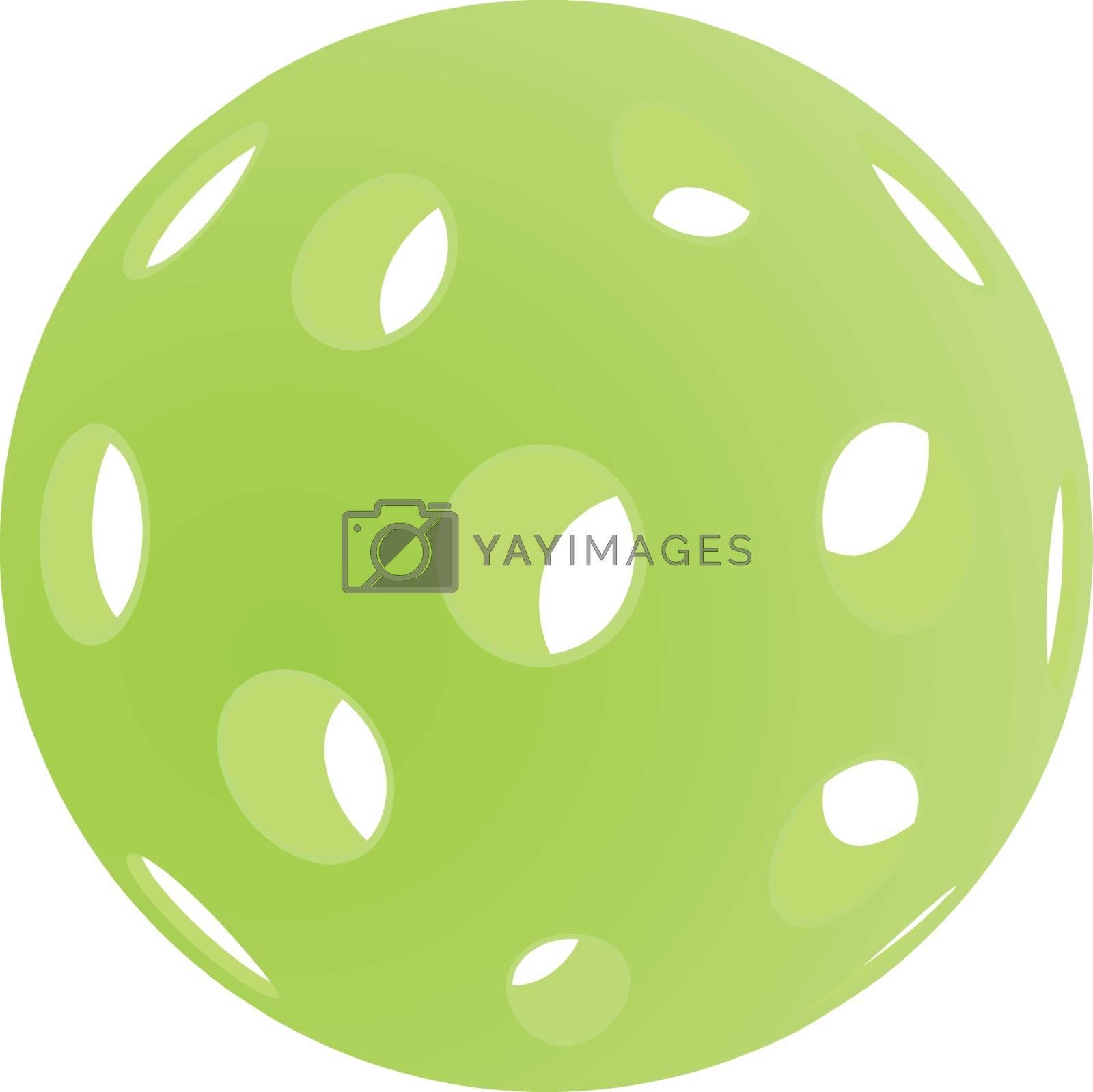 Green pickleball vector illustration isolated on white background