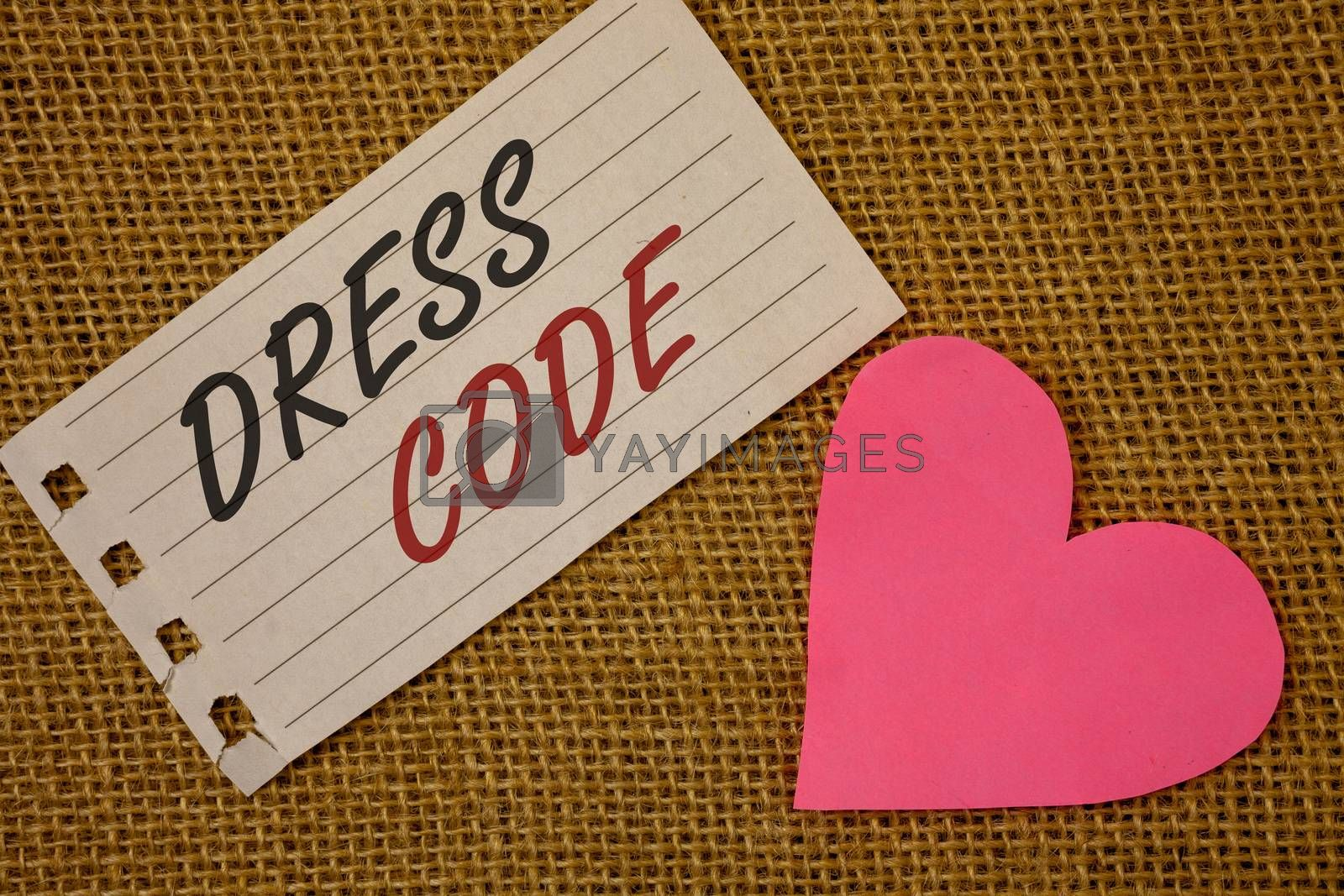 Text sign showing Dress Code. Conceptual photo Rules of what you can wear and not to school or an eventNotebook page Wicker background Pink Heart Black Red letters Love note
