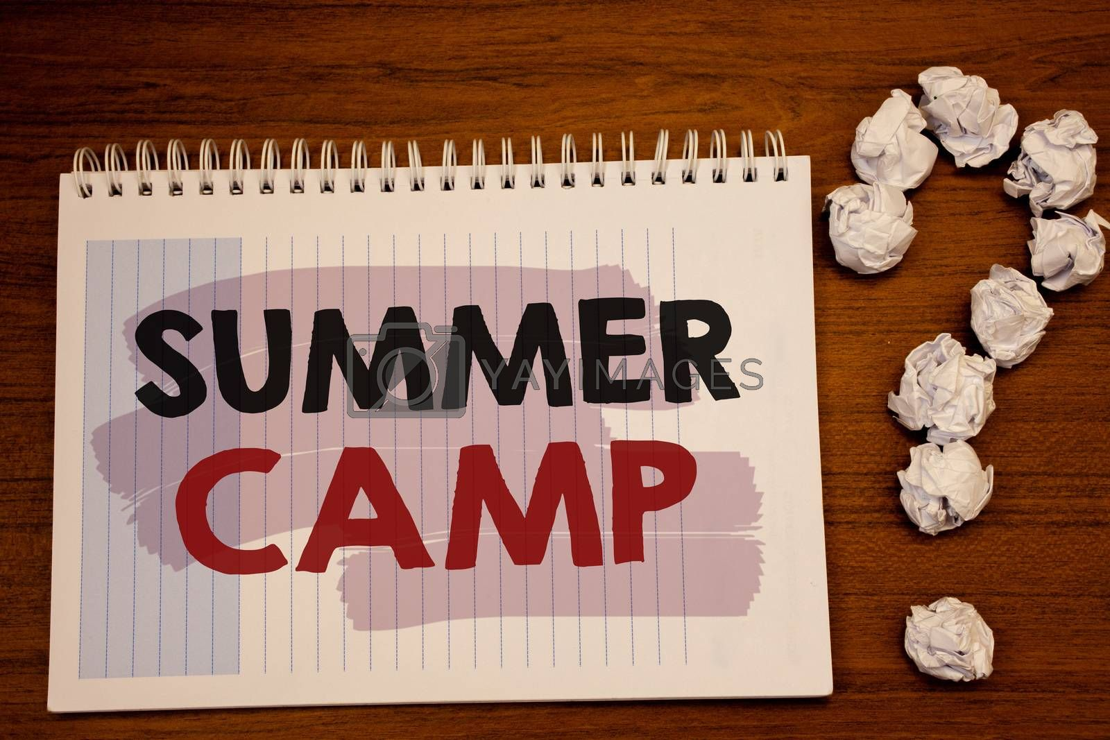 Writing note showing  Summer Camp. Business photo showcasing Place in country where children make activities during holidays
