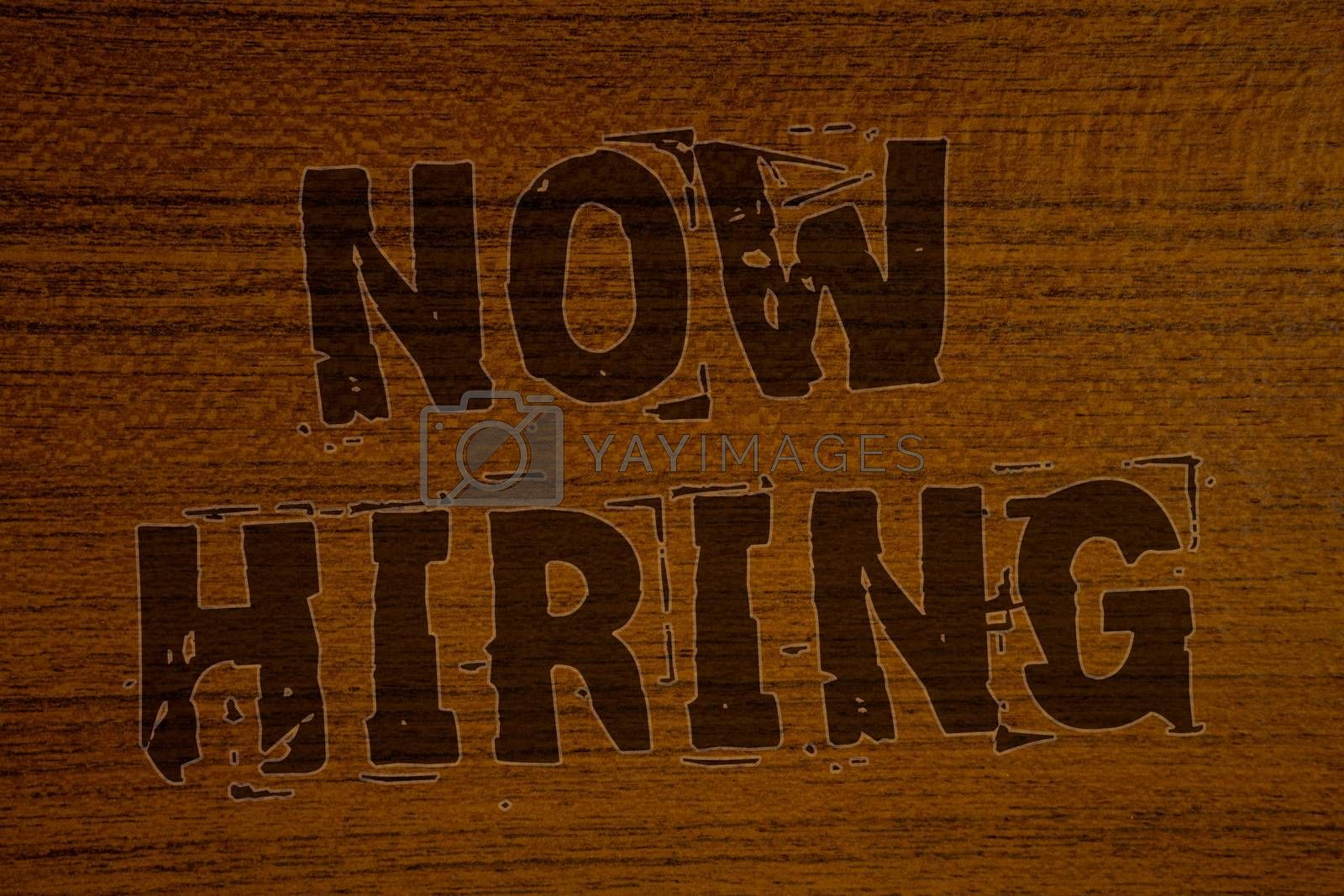 Conceptual hand writing showing Now Hiring. Business photo showcasing Workforce Wanted Employees Recruitment Today Job OpportunityBold brown letters words ideas on wooden background concept messages