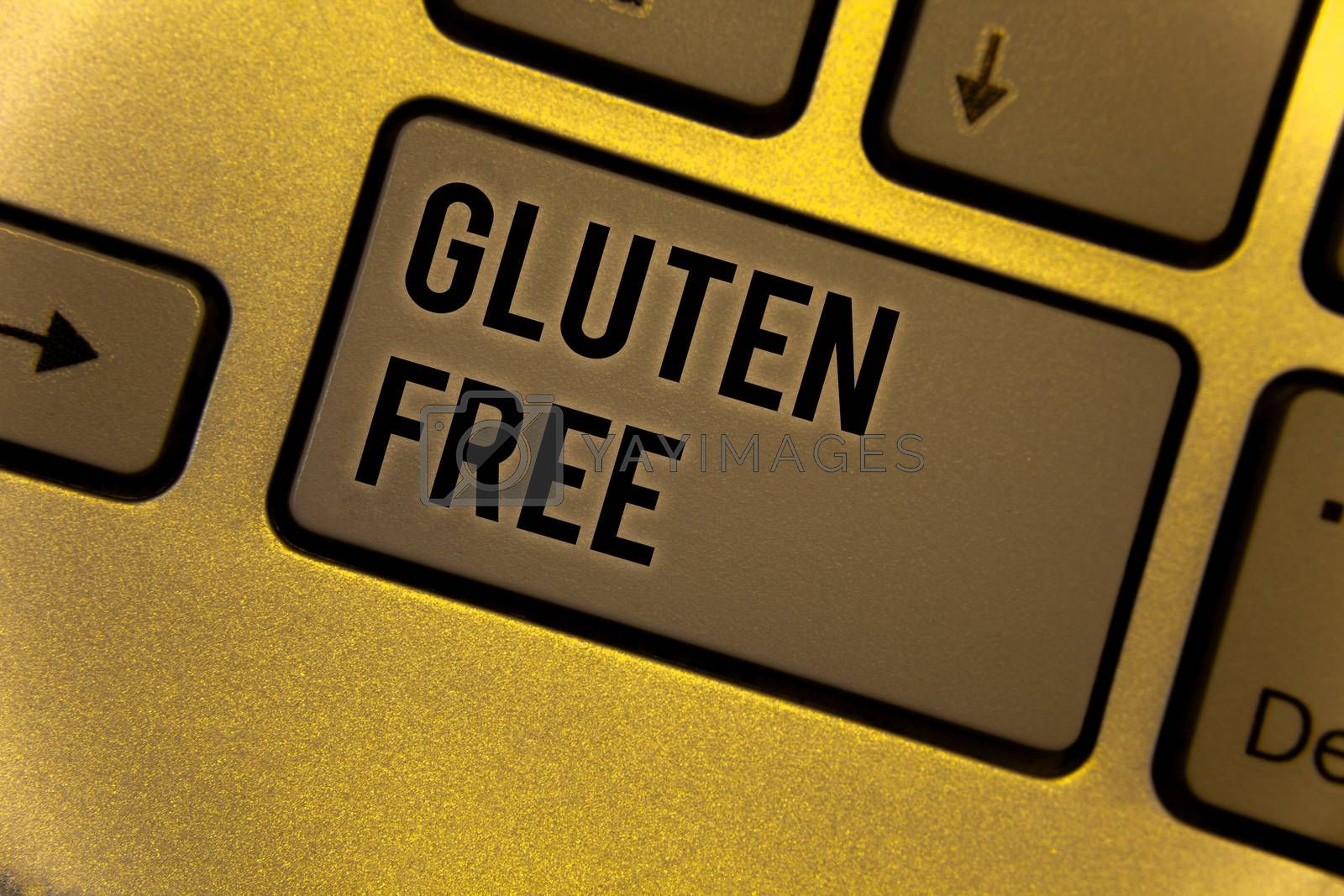 Conceptual hand writing showing Gluten Free. Business photo showcasing Diet with products not containing ingredients like wheatYellow Keyboard brown key Intention create texts on computer