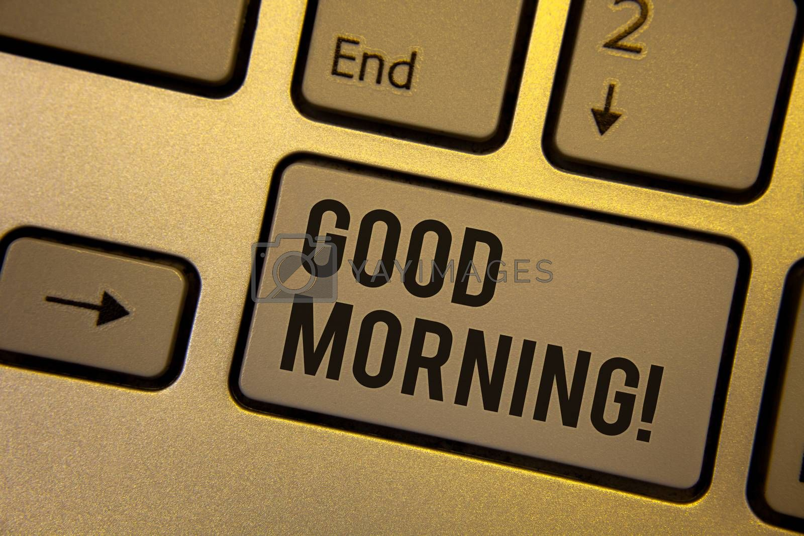 Writing note showing  Good Morning Motivational Call. Business photo showcasing Greeting Wishes for a great day Inspirational