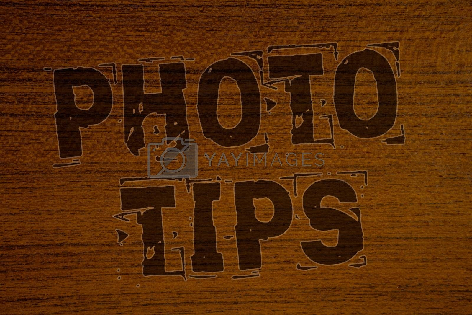 Conceptual hand writing showing Photo Tips. Business photo showcasing Suggestions to take good pictures Advices for great photographyBold brown letters words ideas on wooden background