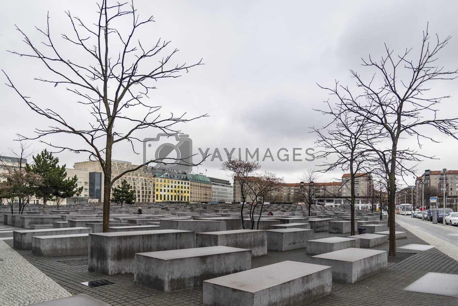 The Memorial to the Murdered Jews of Europe. Memorial to the Jewish victims of the Holocaust, built of concrete slabs, In Berlin Germany
