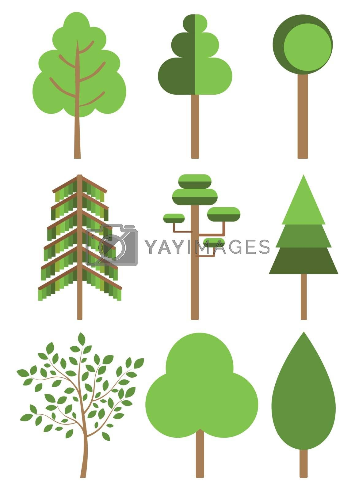 Origami tree template icons in green colors, paper flat trees isolated on white silhouette