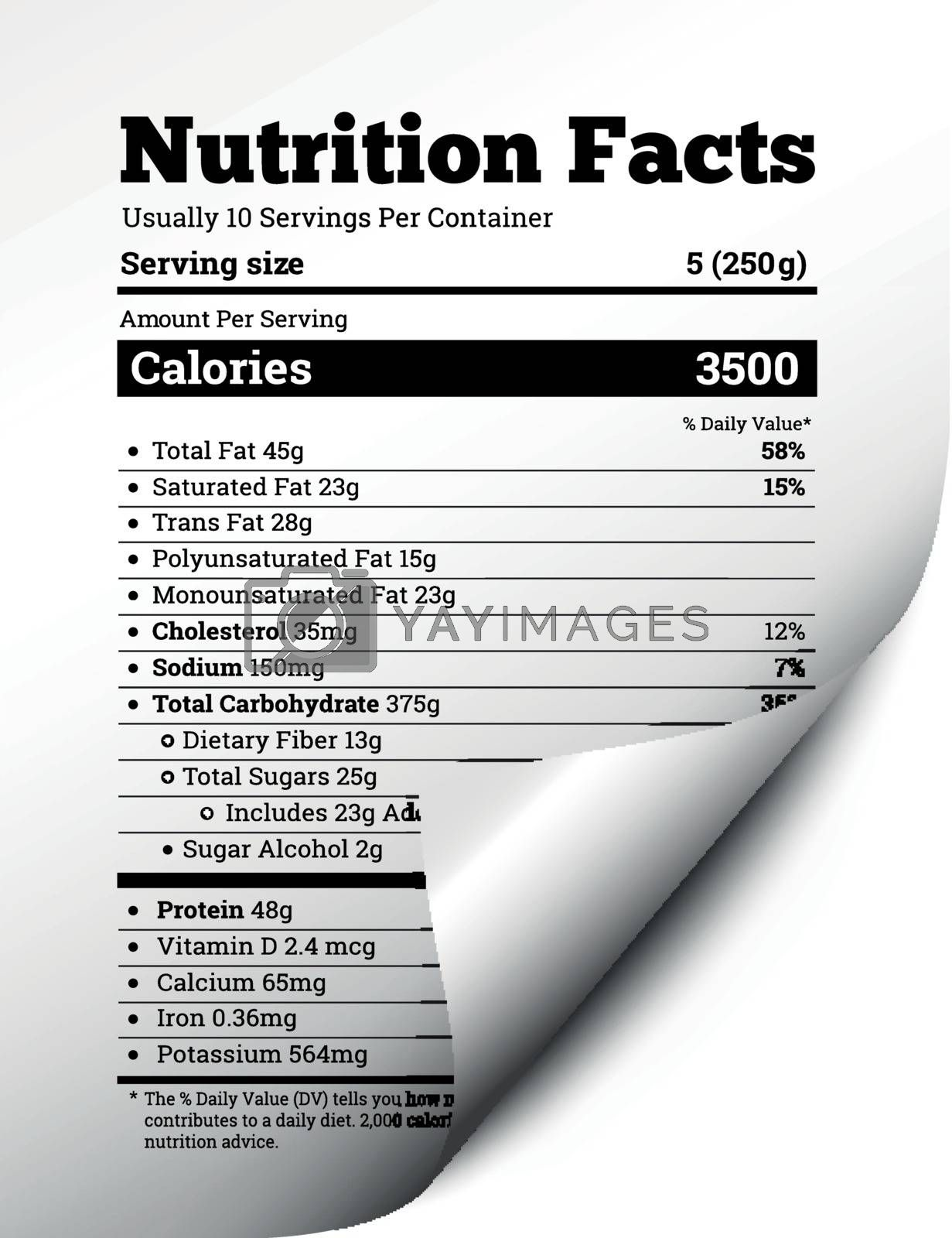 Nutrition facts label design with page curl. Vector illustration