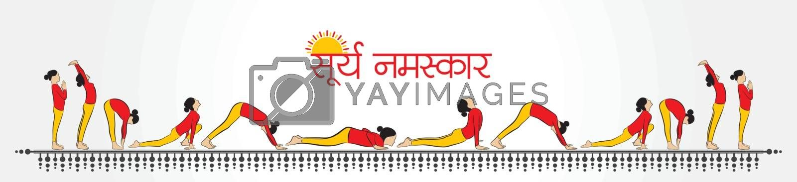 illustration of woman doing SURYA NAMASKAR by graphicsdunia4you