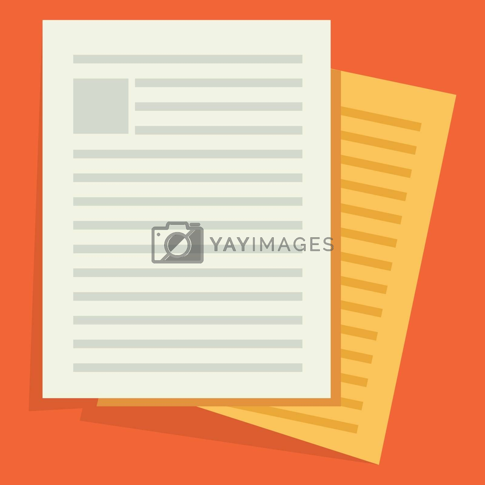 Documents icon. Stack of paper sheets. Confirmed or approved document. Flat illustration isolated on color background.