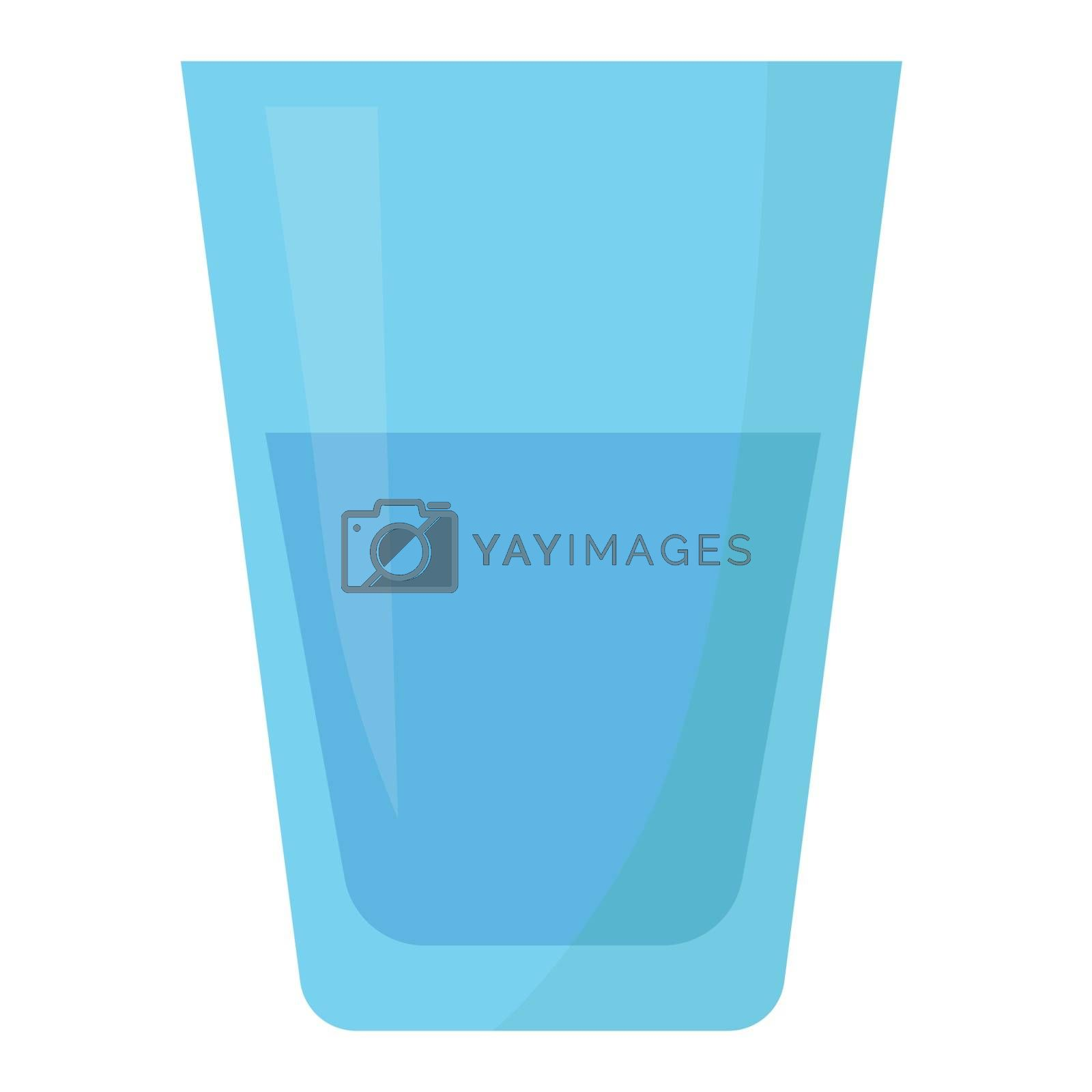 glass of water flat design isolated on white background