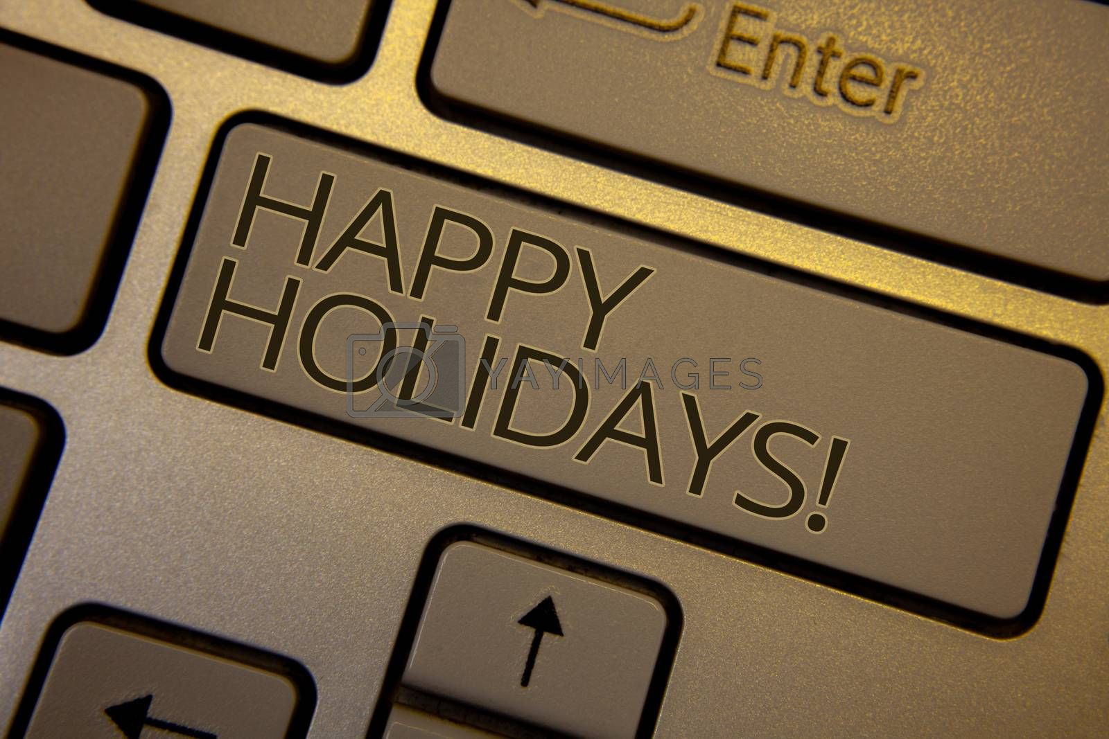 Word writing text Happy Holidays Motivational Call. Business concept for Greeting Celebrating Festive Days Keyboard brown key black letters words Intention create text on computer