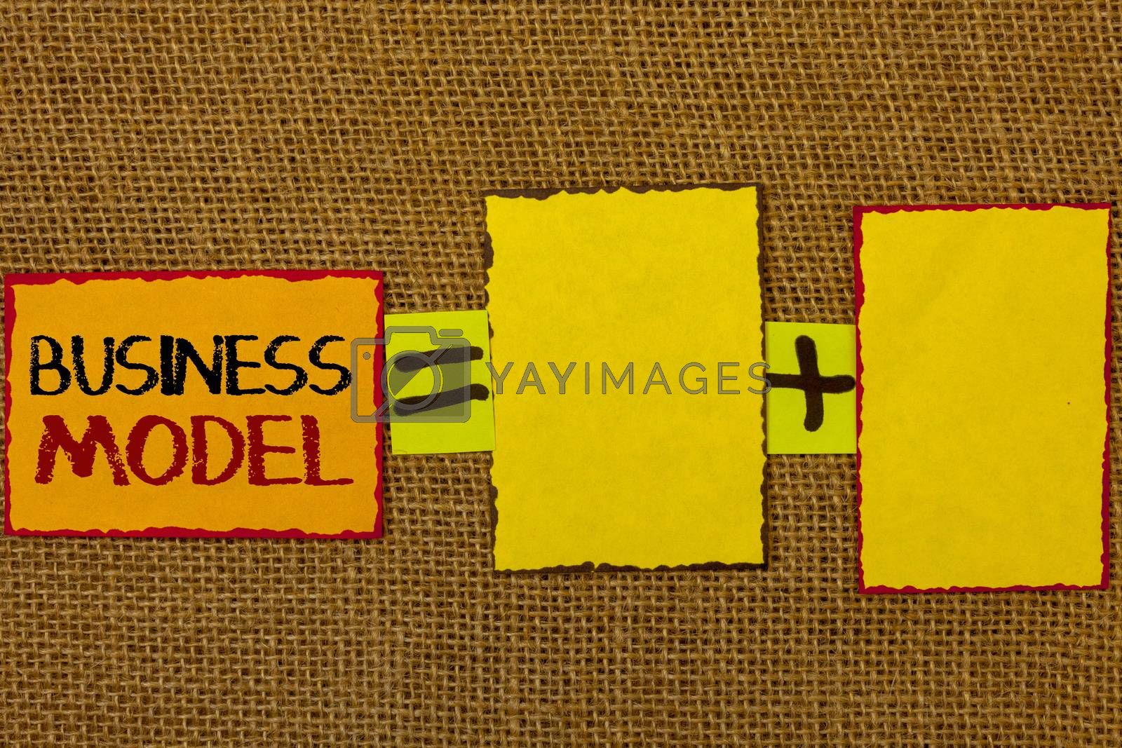 Conceptual hand writing showing Business Model. Business photo showcasing Innovative Strategic Plan Marketing Vision Successful Ideas Text equals empty note plus emptu yellow note love funny