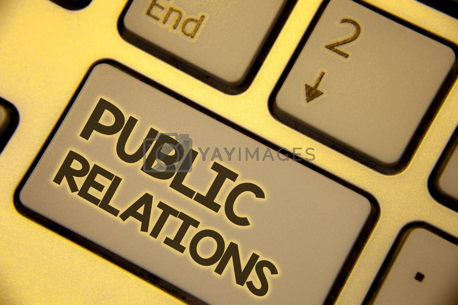 Writing note showing  Public Relations. Business photo showcasing Communication Media People Information Publicity Social Text two Words written Computer Keyboard Insert Key Button press work