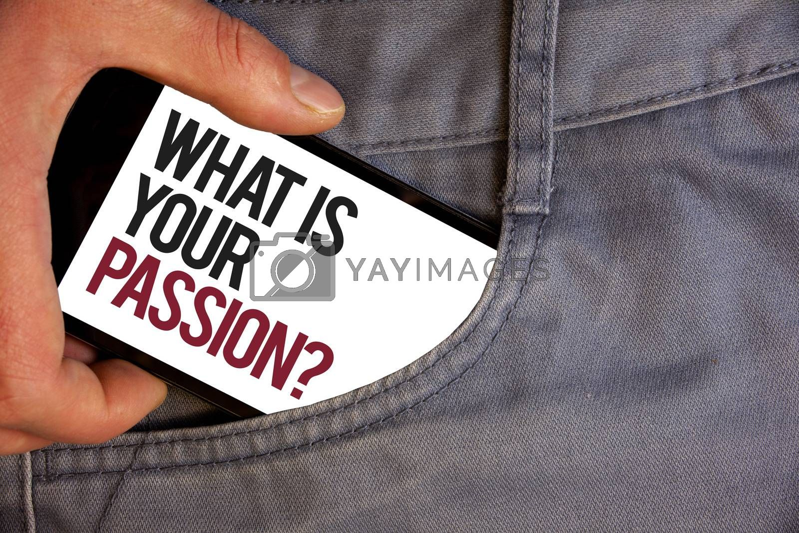 Word writing text What'S Your Passion Question. Business concept for asking someone about his dreams and hopes Personage hand pushing mobile phone into back pocket fascinating way